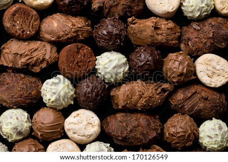top view of various chocolate truffles - stock photo