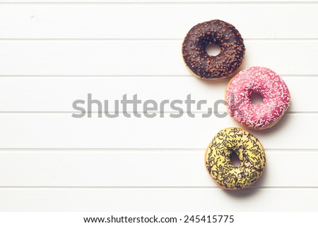 top view of various donuts - stock photo