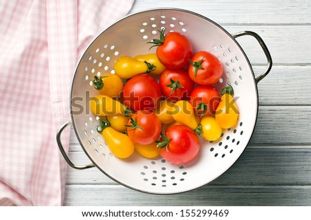 top view of various tomatoes in colander