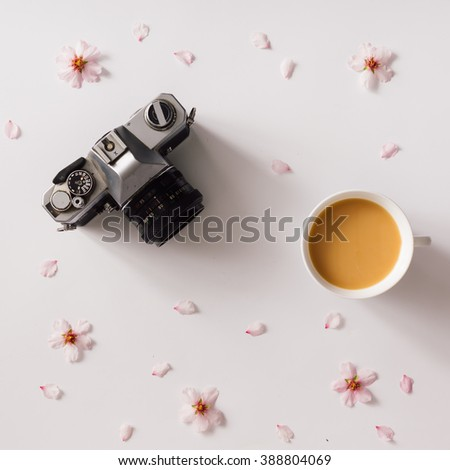 Top view of vintage camera on white background with pink flowers and cup of coffee or tea. - stock photo