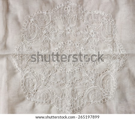top view of vintage hand made beautiful lace fabric - stock photo