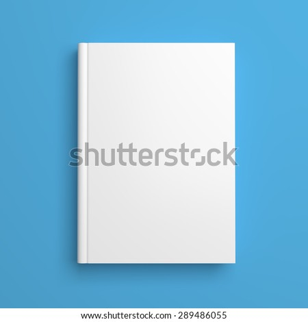 Top view of white blank book cover on blue background with shadow - stock photo
