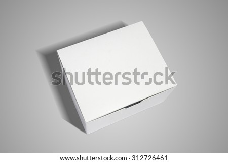 top view of white box on grey background - stock photo