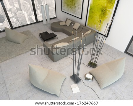 Top view of white living room with green decoration - stock photo