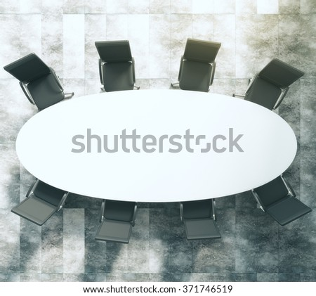 Top view of white oval conference table with black leather chairs on concrete floor 3D Render - stock photo