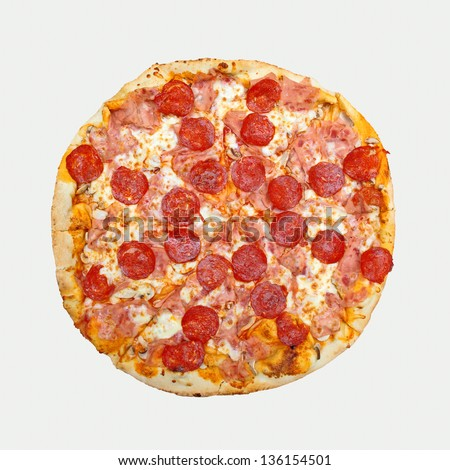Top View of Whole pepperoni pizza. Tasty pizza with pepperoni sausage. - stock photo
