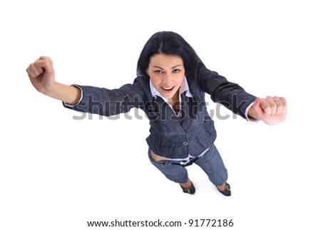 Top view of winner business woman isolated - stock photo