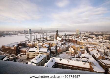 top view of winter Riga, Latvia - stock photo