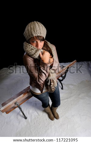 top view of woman in winter clothes having cold - stock photo