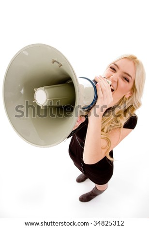 top view of woman shouting in loudspeaker on an isolated background - stock photo
