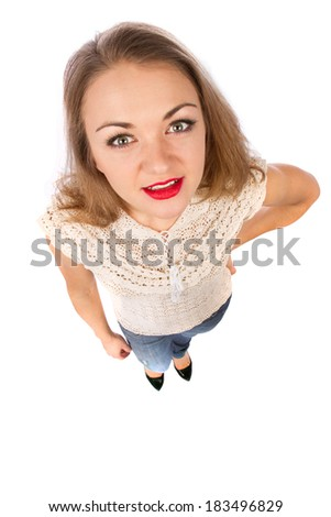 Top view of young attractive woman isolated on white - stock photo
