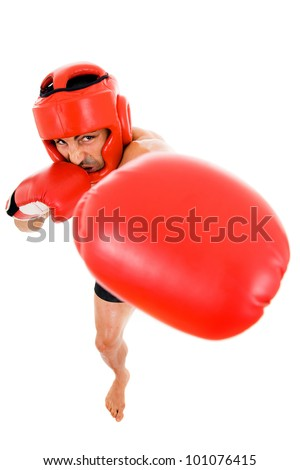 Top view of young Boxer fighter with boxing helmet and gloves over white background