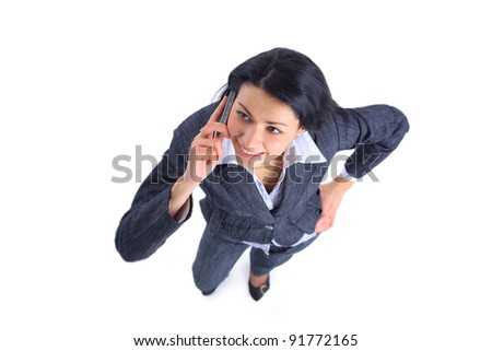 Top view of young businesswoman talking on mobile phone isolated on white background - stock photo