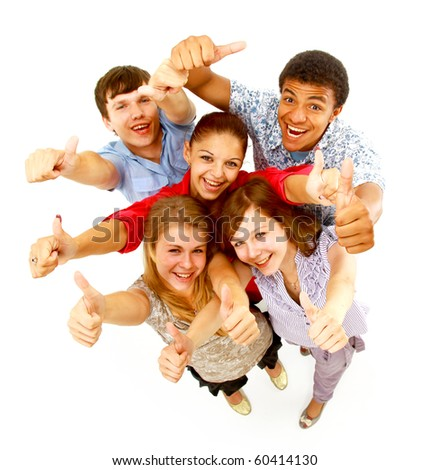 Top view of young friends with hands raised - stock photo