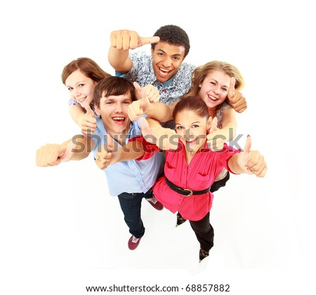 Top view of young friends with hands raised