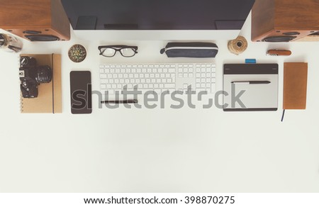 Top view office - stock photo