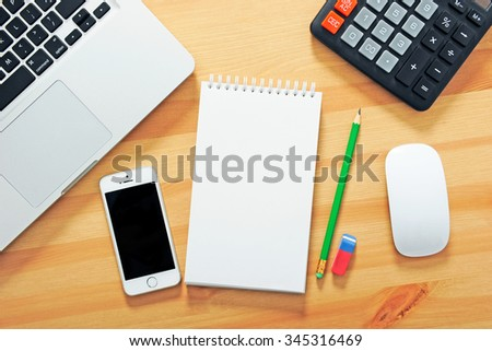 Top view office desk mockup - stock photo