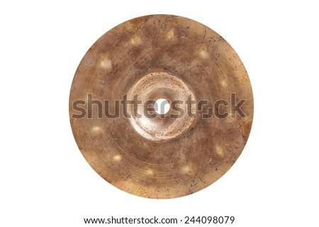 Top view old cymbal drum on isolated  - stock photo