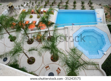 Top view on a beach and a courtyard - stock photo