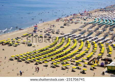 Top view on a sandy beach in Rimini, Italy  - stock photo