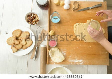 Top view on baking ingredient on wooden table wooden making dough for cookies - stock photo