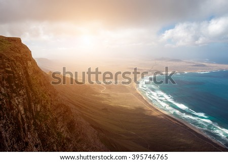 Top view on Famara coastline on the northern part of Lanzarote island in Spain - stock photo