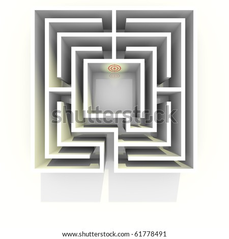 Top view on labyrinth to destination. Conceptual image good for overview, distance, mastering, challenge or vision themes. - stock photo