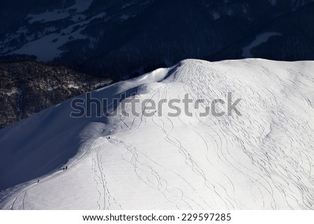 Top view on off piste slope. Caucasus Mountains, Georgia, ski resort Gudauri. - stock photo