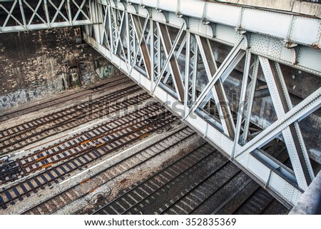 Top view on railway tracks.
