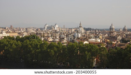 Top view on Rome from Saint Angel castle - stock photo