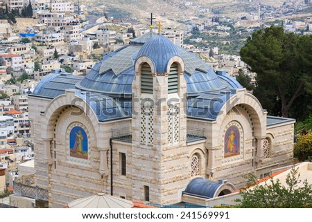 Top view on St. Peter in Gallicantu Monastery on Zion Mount in Jerusalem - stock photo