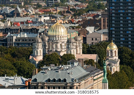 Top view on The Nativity of Christ Cathedral, Riga, Latvia - stock photo