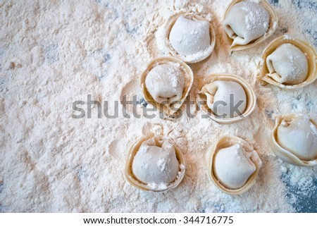 Top view on uncooked meat dumplings lies on one side of the table - stock photo