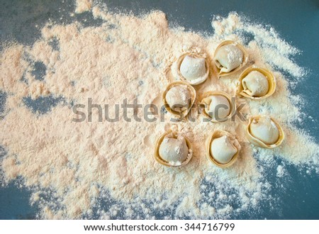 Top view on uncooked meat dumplings lies on right part of the table - stock photo