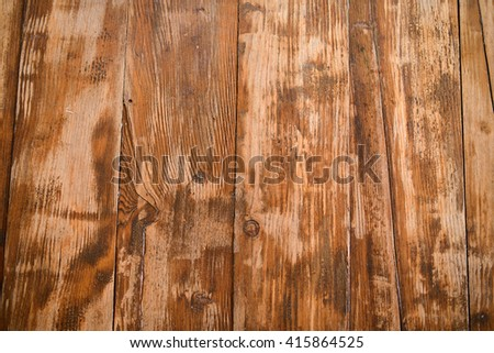 top view on wooden surface of table - stock photo