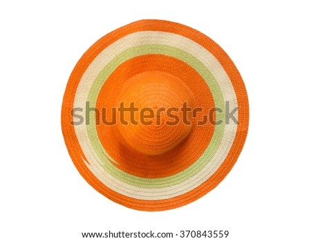 top view orange floppy hat isolated on white background - stock photo