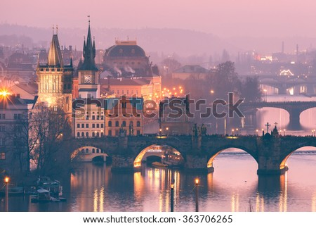 Top view over Old Town and bridges over Vltava River in Prague, Czech Republic - stock photo
