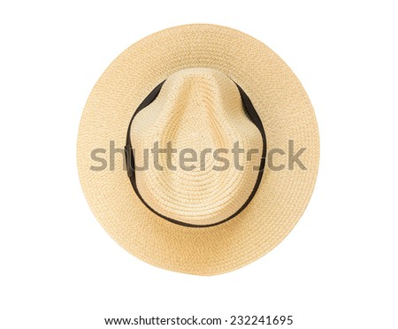 Top view panama hat isolated on white background - stock photo