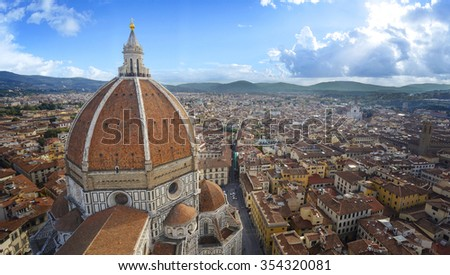 Top view panamora with sunlight  of the Cathedral Santa Maria del Fiore in Florence, Italy - stock photo