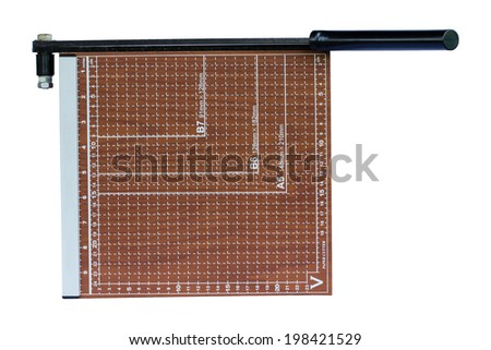 Top view paper cutter on white background - stock photo