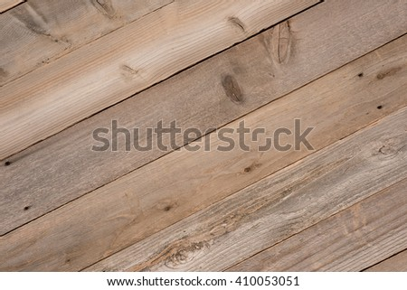 Top View photo of Naturally Aged, Rough textured Rustic dull Brown Cedar Wood, diagonal Boards for Backgrounds with Blank Room or Space for your Design, Words, Text or Copy. Horizontal rectangle - stock photo