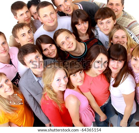 Top view portrait of happy men and women standing together and smiling - stock photo