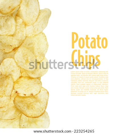 top view potato chips isolated on white background - stock photo