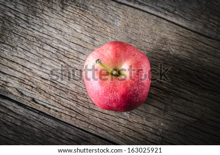 Top view red apple. Process is still life with bright colors - stock photo