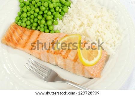 top view salmon with lemon - stock photo