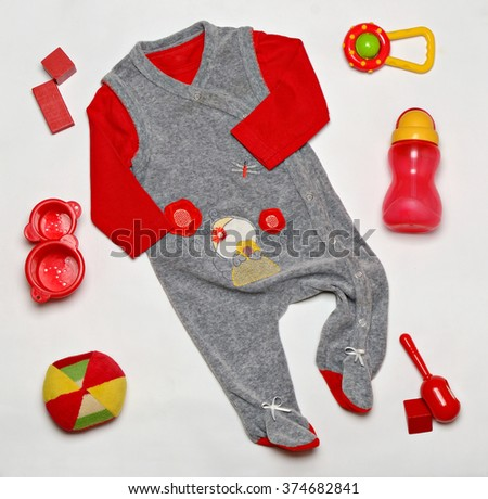 top view set of fashion trendy clothes and kids stuff for little  baby, fashion concept