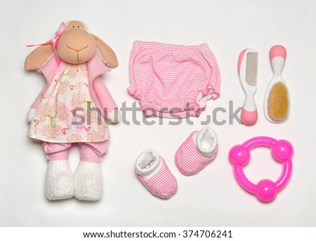 top view set of fashion trendy clothes and kids stuff in pink color for little  baby girl, fashion concept - stock photo