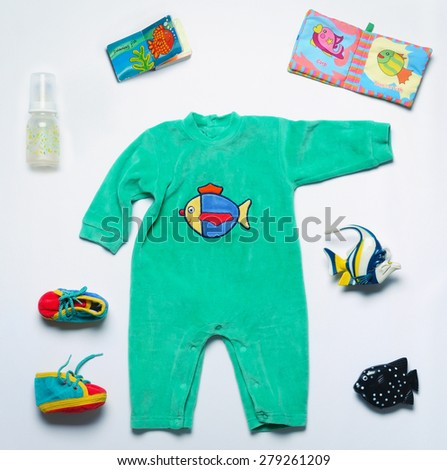 top view set of fashion trendy stuff and toys for newborn baby, baby fashion concept  - stock photo