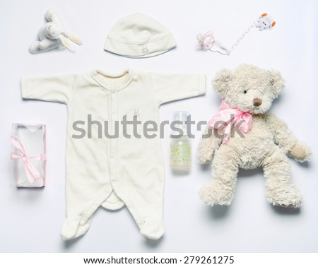 top view set of fashion trendy stuff for newborn baby girl, baby fashion concept  - stock photo