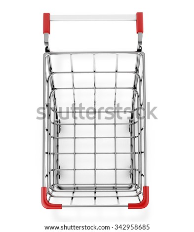 top view shopping cart 3d render - stock photo